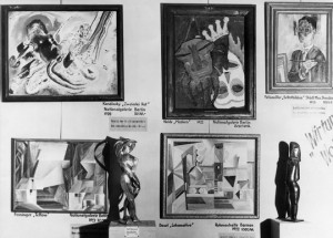 """Ausstellung """"Entartete Kunst"""" im Galeriegebäude am Münchener Hofgarten (Eröffnung am 19. Juli 1937)."""